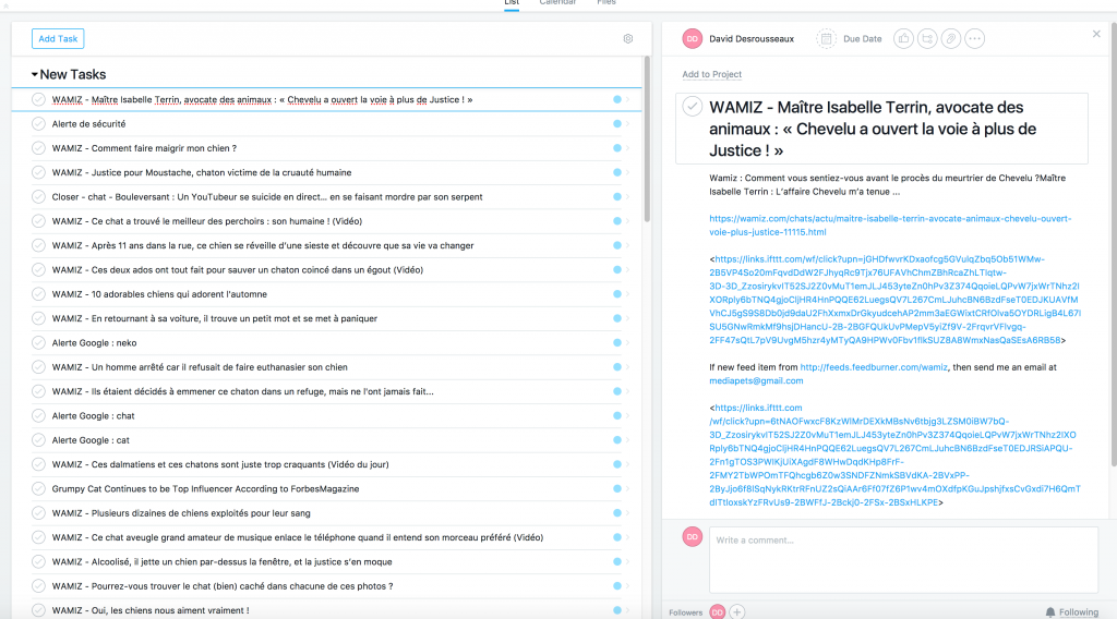 Asana / Exemple de veille collaborative
