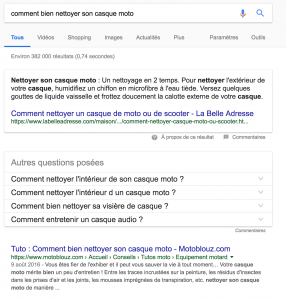 Exemple de Featured Snippet avec Motoblouz.com
